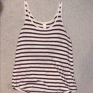 H&M Red and White Striped Tank Top